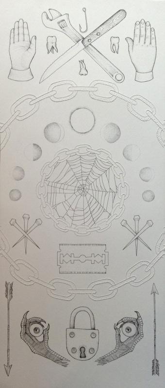 LUCAS MASCARO, s.t. , estilografo negro y maquina de tatuar sobre papel, 30 x 70